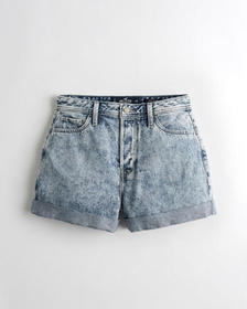 Hollister Ultra High-Rise Denim Mom Short 3 in., L