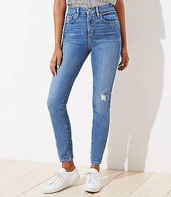 Petite Curvy Destructed High Rise Skinny Jeans in