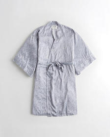 Hollister Belted Satin Robe, BLUE PATTERN