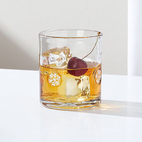 Crate Barrel Snowflakes Double Old-Fashioned Glass