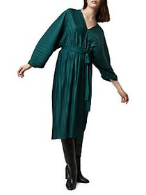 French Connection Regi Pleated Dress BAYOU GREEN