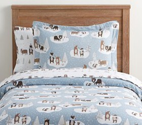 Pottery Barn Organic Flannel Winter Bear Duvet Cov