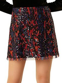 French Connection Inari Sequin Embellished Skirt L