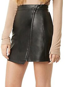 French Connection Zip-Front Faux Leather Skirt BLA
