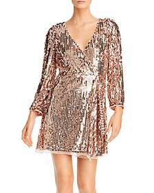 FRENCH CONNECTION - Ellis Sequins Faux-Wrap Mini D