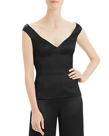 Theory - Crepe Paneled Off-the-Shoulder Top