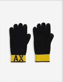 Armani KNITTED GLOVES WITH CONTRASTING TURN-UP