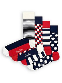 Happy Socks 4-Pair Printed Crew Socks NAVY RED WHI