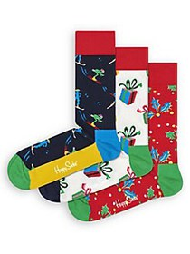 Happy Socks 3-Pair Printed Crew Sock RED GREEN