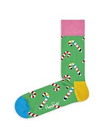 Happy Socks Candy Cane Crew Socks GREEN