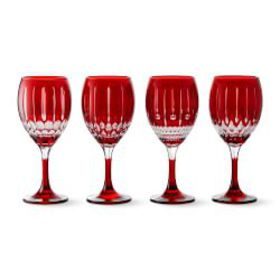 Wilshire Jewel Cut Wine Glasses Mixed, Set of 4, R