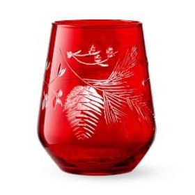 Pinecone Cut Stemless Wine Glasses, Set of 4, Red