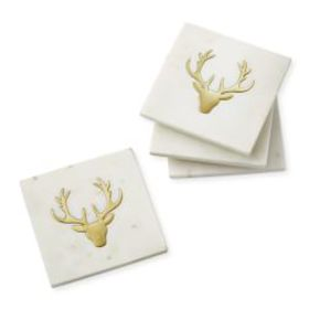 Marble Coasters with Brass Stag, Set of 4