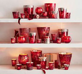 Pottery Barn Red Mercury Glass Candle Holders