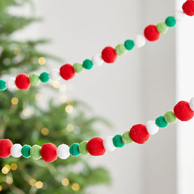Crate Barrel Red/Green/White Pompom Garland