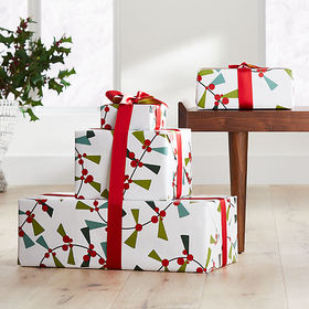 Crate Barrel Holly Garland Gift Wrap