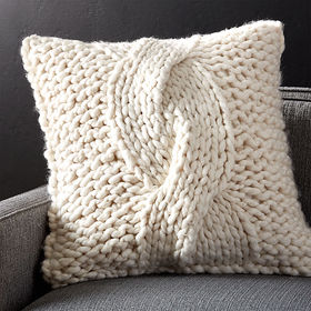 "Crate Barrel Cozy Knit Ivory 23"" Pillow with Down-"