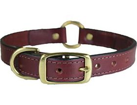 """Omni Pet 1"""" Leather Collar with Center Ring"""