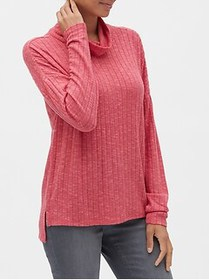 Factory Brush Ribbed Funnel-Neck Top