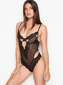 Victoria Secret Floral Embroidered Cutout Teddy