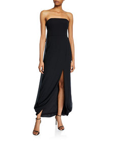 Halston Strapless Draped-Back High-Low Georgette G
