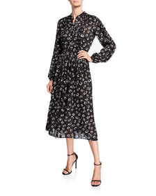 Saloni Raquel Printed Metallic Shirt Dress