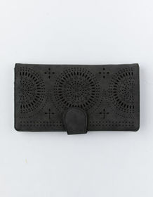 VIOLET RAY Perforated Black Wallet_