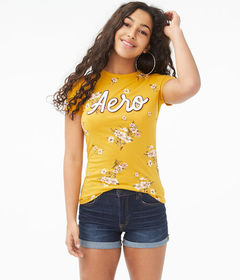 Aeropostale Floral Fields Logo Graphic Tee