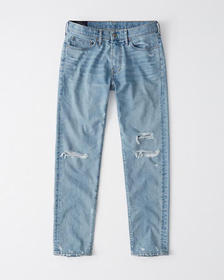 Skinny Taper Jeans, RIPPED LIGHT WASH