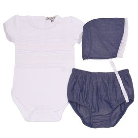 Harry & Violet Baby Girls White Blue Bodysuit Bott