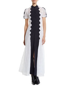 Valentino Short-Sleeve Button-Front Organdy Midi D