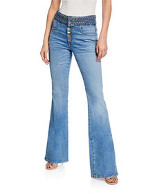 Veronica Beard Beverly Braided Flare-Leg Jeans