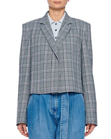 Tibi James Menswear Check Button-Front Cropped Bla