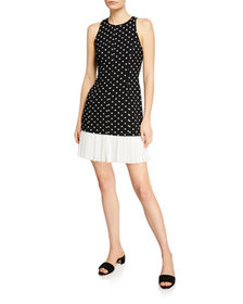 cinq a sept Catriona Dotted Crepe Dress w/ Pleated