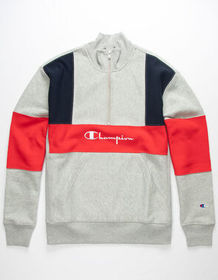 CHAMPION Quarter Zip Color Block Mens Sweatshirt_