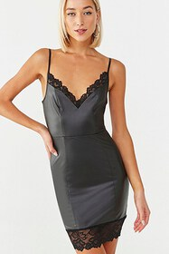 Forever21 Faux Leather Lace Mini Dress