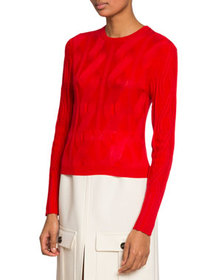 Chloe Crewneck Cable-Knit Wool-Silk Sweater