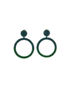 Oscar de la Renta Beaded Hoop-Drop Earrings