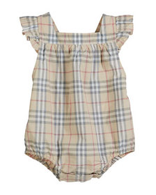 Burberry Washed Check Ruffle-Trim Bubble Romper, S
