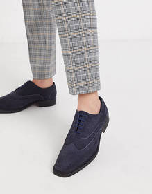 Redfoot navy suede oxford brogue shoe