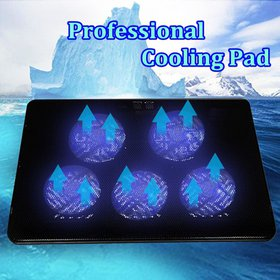 Laptop Cooling Pad Cooler Pad with 5 Fans Blue LED
