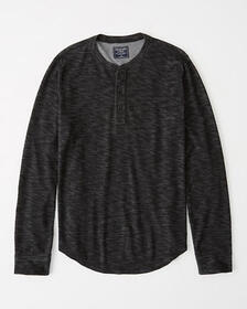 Textured Long-Sleeve Henley, BLACK