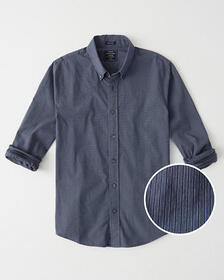 Super Slim Poplin Shirt, BLUE MICRO PATTERN