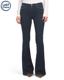 FRAME Made In USA Le High Flare Pintuck Jeans