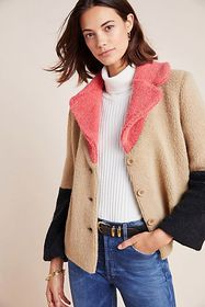 Anthropologie Luciana Colorblocked Teddy Jacket
