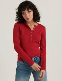 Lucky Brand Heart Pointelle Henley Thermal