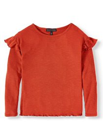Derek Heart Long Sleeve Ribbed Ruffle T-Shirt (Lit