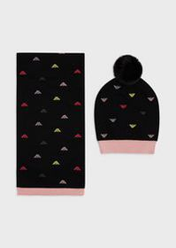 Armani Beret and scarf set with all-over eagles