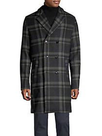 Selected Homme Check Double-Breasted Wool-Blend Co