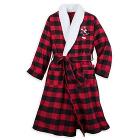 Disney Mickey Mouse Holiday Plaid Robe for Adults